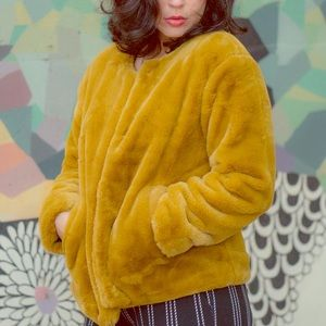 Mustard Yellow Faux fur coat